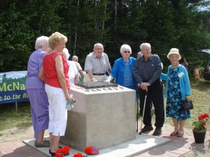 Homecoming monument August 16, 2009 L to R:  Juanita Long, Doris Stewart, Phoebe Clowater, Perley Clowater, Mabel O'Donnell, John Stewart, Lena O'Donnell